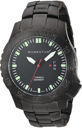 Momentum Mens Sports Watch | Torpedo Black IP Dive Watch by | IP Black Steel Watches for Men | Analog Watch with Japanese Movement | Water Resistant (200M/660FT) Classic Watch - Black / 1M-DV74B0