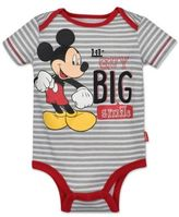 "Disney Size 6M Mickey Mouse ""Lil Guy Big Smile"" Bodysuit in Grey/Red"