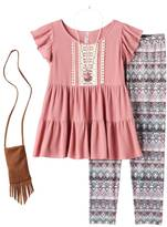 Knitworks Girls 7-16 & Plus Size Ruffle Tunic & Patterned Leggings Set with Necklace & Crossbody Purse