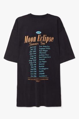 Nasty Gal Womens Moon Eclipse Summer Tour Graphic Tee Dress - Grey - S, Grey