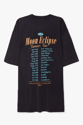 Nasty Gal Womens Moon Eclipse Summer Tour Graphic Tee Dress - Grey