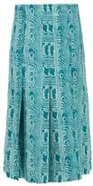 Marni Belted Moire-print Silk-twill Midi Skirt - Womens - Green Multi