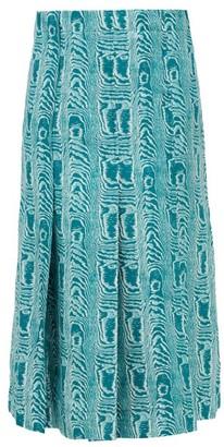 Marni Belted Moire-print Silk-twill Midi Skirt - Green Multi