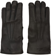 Belstaff Black Leather Buckle Gloves