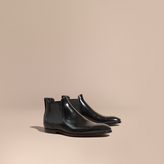 Burberry Perforated Detail Leather Chelsea Boots
