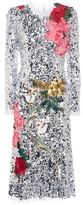Dolce & Gabbana Sequinned Dress With Floral Appliqué
