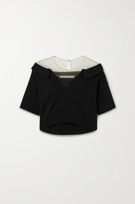 Alexander Wang Cropped Tulle-trimmed Wool-blend Sweater - Black