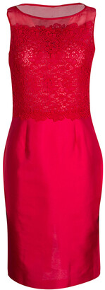 Carolina Herrera Red Lace and Organza Sleeveless Sheath Dress S