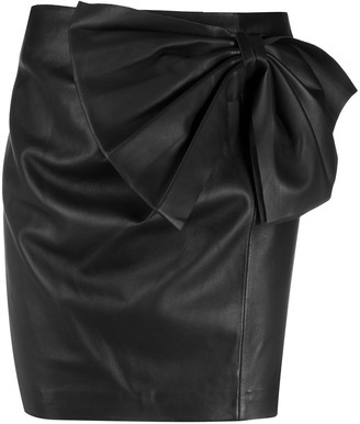 RED Valentino Lambskin Bow Detail Mini Skirt