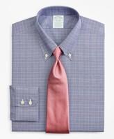 Brooks Brothers Stretch Milano Slim-Fit Dress Shirt, Non-Iron Royal Oxford Button-Down Collar Glen Plaid