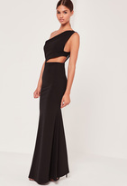 Missguided One Shoulder Cut Out Waist Maxi Dress Black