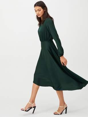 Very Blouson Sleeve Satin Midi Dress - Green