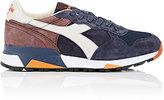 Diadora Men's Trident 90 Suede Sneakers-BLUE, BROWN