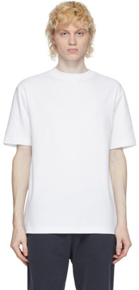 Sunspel White Brushed Mock Neck T-Shirt
