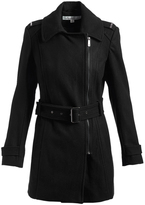 Kenneth Cole Black Zip-Front Wool-Blend Trench Coat