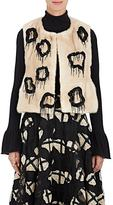 Co Women's Embellished Mink Fur Peplum Vest