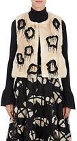 Co Women's Embellished Mink Fur Peplum Vest