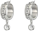 GUESS Small Band Hoop with Charm Drop Earrings (Silver) Earring