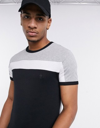 French Connection colorblock t-shirt with contrast stripe in black