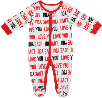 Baby Starters Footies White - White & Red 'Love You' Footie - Newborn & Infant