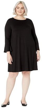 Eileen Fisher Plus Size Fine Tencel Jersey Round Neck Bracelet Sleeve Dress (Black) Women's Clothing