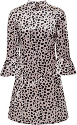 HVN Ashley Bell-Sleeve Silk Mini Dress