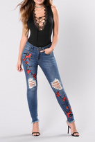 Tractr Embroidered Distressed Denim Jeans