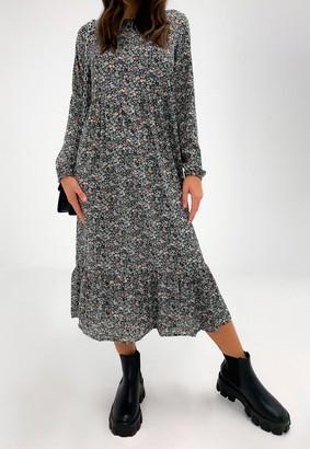 Missguided Black Floral Print Smock Midi Dress