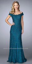 La Femme Scalloped Beaded Off the Shoulder Lace Evening Dress