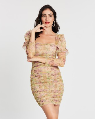 Missguided Mesh Ruched Long Sleeve Body-Con Mini Dress