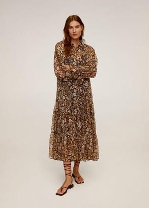 MANGO Floral chiffon dress black - 6 - Women