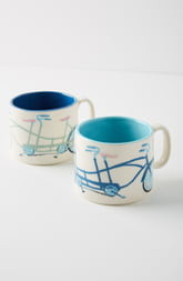 Anthropologie Tandem Mug Set of 2 Mugs