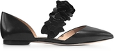 Tory Burch Black Leather Blossom d'Orsay Flats