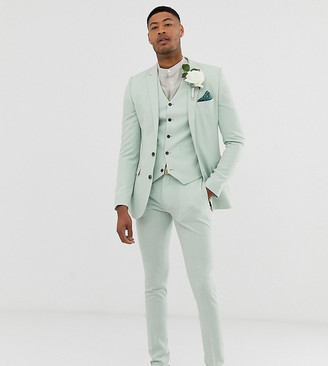 Hatch ASOS DESIGN Tall wedding super skinny suit trousers in green cross