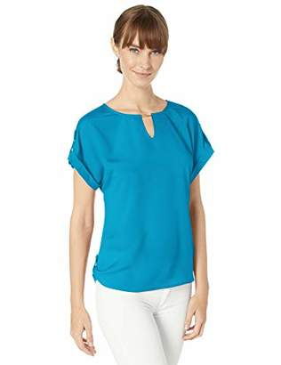 Calvin Klein Women's Short Sleeve TOP with BAR Hardware