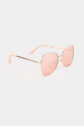 francesca's Ava Square Sunglasses in Rose Gold - Rose/Gold