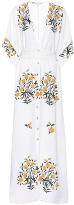 Oscar de la Renta Floral stretch silk dress