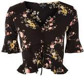 Topshop PETITE Trellis Floral-Printed Ruched Top