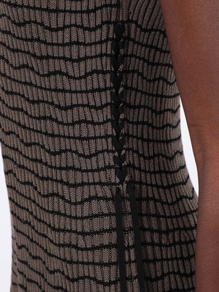Chloé Stripped V-neck Midi Dress