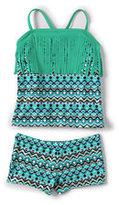 Classic Little Girls Tankini Swimsuit Set-Jewel Green Mosaic