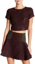 Alice + Olivia Sarina Short Sleeve Embroidered Crop Shirt