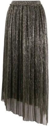 Etoile Isabel Marant Asymmetrical Metallic Pleated Skirt