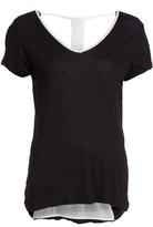 Pure Style Girlfriends Black & White Drape-Back Tunic