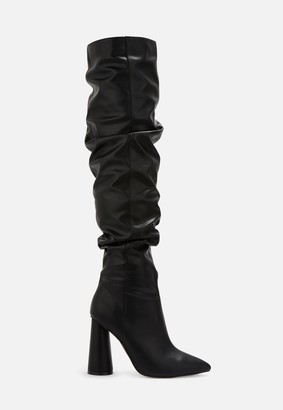 Missguided Black Faux Leather Block Heel Over Knee Boots