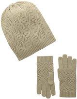 La Fiorentina Women's Cashmere Knit Pointelle Hat and Glove 2 Piece Set
