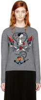 Valentino Grey Cupid joe Mary Tattoo Sweater