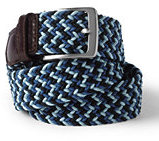 Lands' End Men's Multi-Color Elastic Braid Belt-Silver Graphite Bug Embroidery
