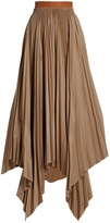 Loewe Asymmetric pleated-cotton skirt