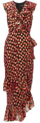 Saloni Anita Flower And Metallic-jacquard Ruffled Dress - Black Red
