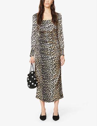 Ganni Leopard-print ruched stretch-silk midi dress